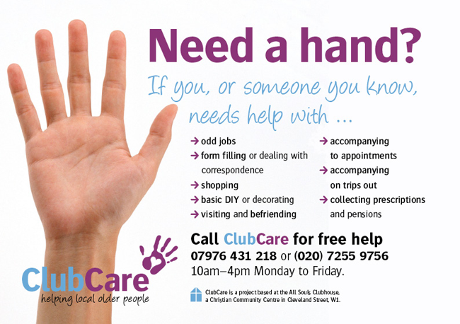 A5 leaflet for ClubCare